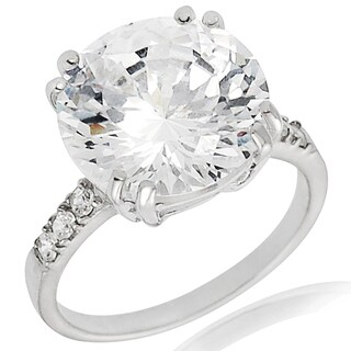 Sterling Silver Cubic Zirconia Oversized Wedding Ring