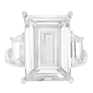Sterling Silver Cubic Zirconia 3-stone Cocktail Ring (2 options available)