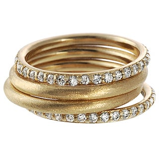 Journee Collection Goldplated Sterling Silver Cubic Zirconia 4-Piece Ring Set
