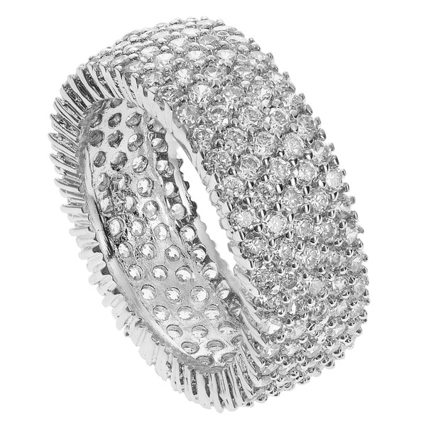 Journee Collection Sterling Silver Cubic Zirconia Engagement-style Band