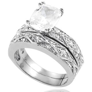 Journee Collection Sterling Silver Cubic Zirconia Bridal and Engagement-style Ring Set
