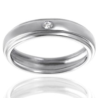 Journee Collection Sterling Silver Cubic Zirconia Stepped-edge Engagement-style Ring