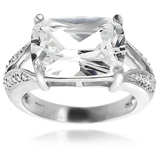 Journee Collection Sterling Silver Emerald-cut Cubic Zirconia Engagement-style Ring
