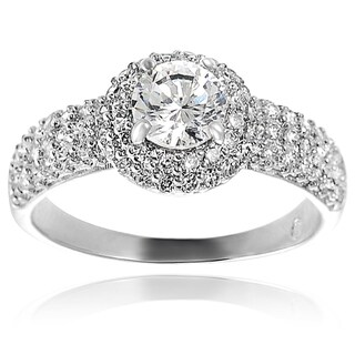 Journee Collection Sterling Silver Round-cut Pave-set Cubic Zirconia Engagment-style Ring