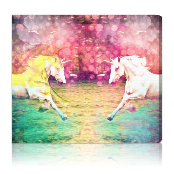 Oliver Gal 'Unicorns Dusk' Canvas Art