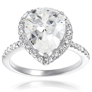 Sterling Silver Cubic Zirconia Pear-cut Halo Wedding Ring