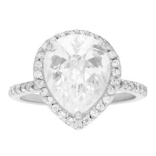 Sterling Silver Cubic Zirconia Pear-cut Halo Wedding Ring