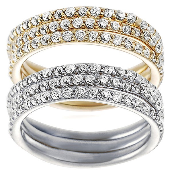 Journee Collection Sterling Silver Cubic Zirconia Bridal Ring 3-piece Set