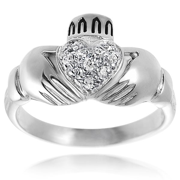Journee Collection Sterling Silver Cubic Zirconia Celtic Claddagh Ring