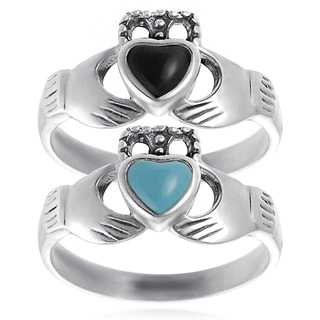 Journee Collection Sterling Silver Acrylic Celtic Claddagh Ring