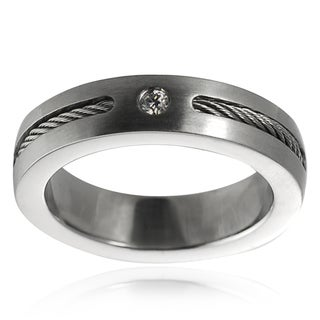 Vance Co. Stainless Steel Cubic Zirconia Wedding Band (6 mm)