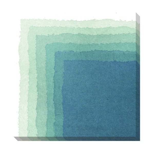 Gallery Direct Chevron Watercolor Blue Oversized Gallery Wrapped Canvas
