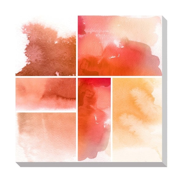 Gallery Direct Red Watercolor Squares Oversized Gallery Wrapped Canvas