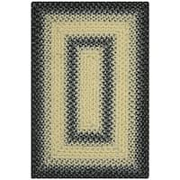 Safavieh Hand-woven Country Living Reversible Black/ Grey Braided Rug - 2' x 3'