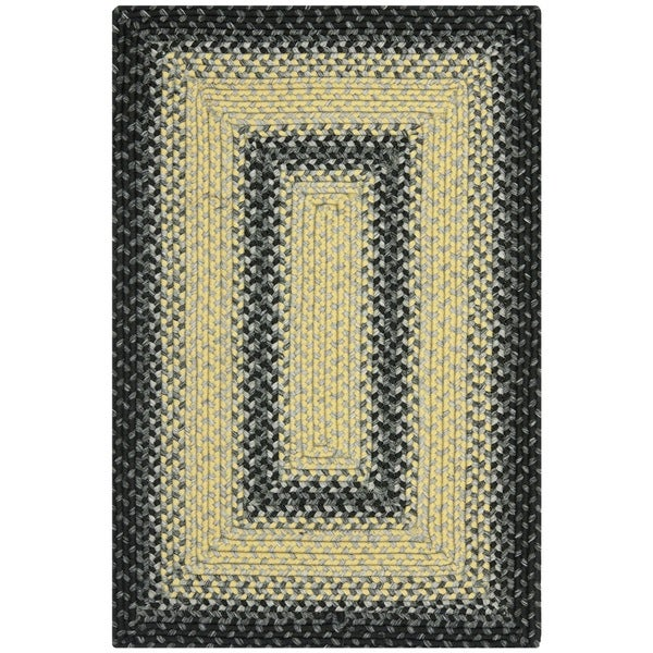 Safavieh Hand-woven Country Living Reversible Black/ Grey Braided Rug - 2'6 x 5'