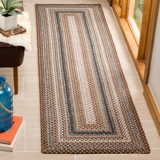 Safavieh Hand-woven Country Living Reversible Brown Braided Rug (2'3 x 14')