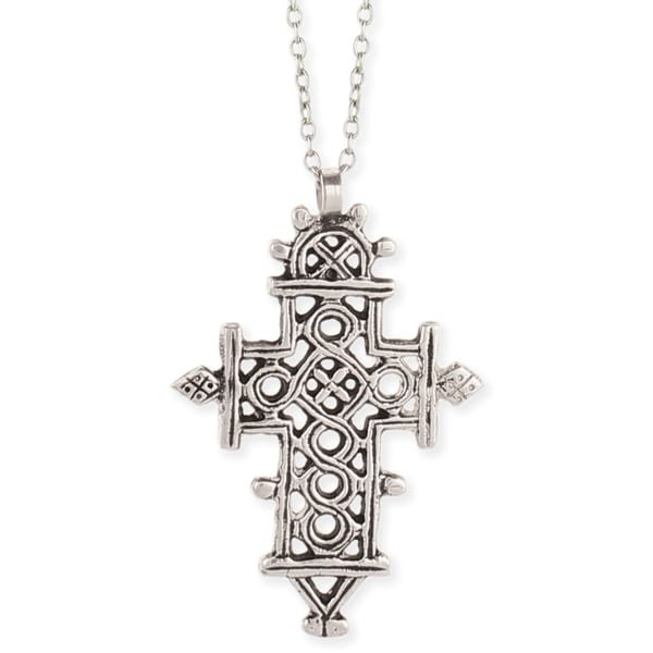 Handcrafted Silvertone Link Chain Ethnic Cross Necklace (India)