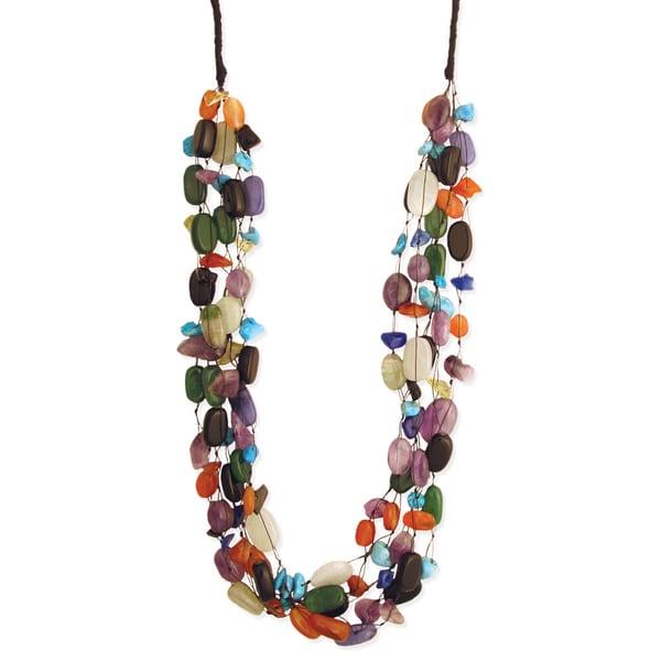 Handmade 5 Strand Semi-precious Stone Necklace (India)