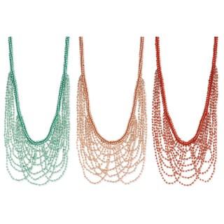 Handmade Pastel Glass Beaded Drape Necklace (India)