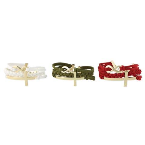 Handmade Faux Suede Cross Infinity Charm Bracelet (India)