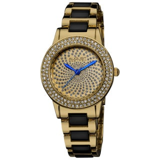 August Steiner Women's Crystal Glitz Ceramic Link Gold-Tone Bracelet Watch