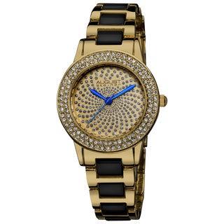 August Steiner Women's Crystal Glitz Ceramic Link Gold-Tone Bracelet Watch