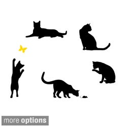 5 Pack of Cats with Colored Butterfly Vinyl Wall Art Decal