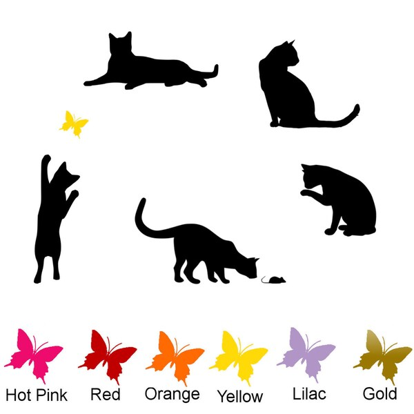 5 Pack of Cats with Colored Butterfly Vinyl Wall Art Decal. Opens flyout.