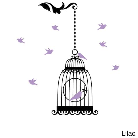 Hanging Birdcage with Colored Birds Vinyl Wall Art Decal