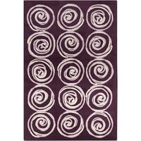 Handmade 'Allie' Purple Spirals Wool Rug - 5' x 7'6