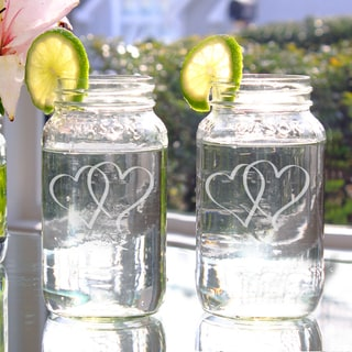Two Hearts 26-ounce Mason Jars (Set of 2)