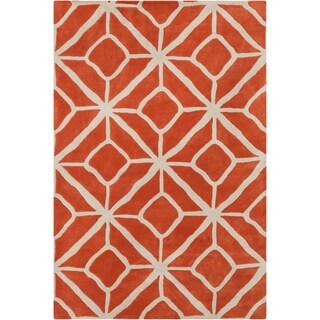Handmade 'Allie' Geometric Orange/Cream Wool Rug - 5' x 7'6