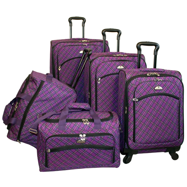American Flyer Plaid Expandable Purple 5-piece Spinner Luggage Set