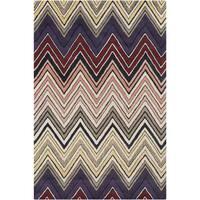 Handmade 'Allie' Tan Geometric Wool Rug - 5' x 7'6