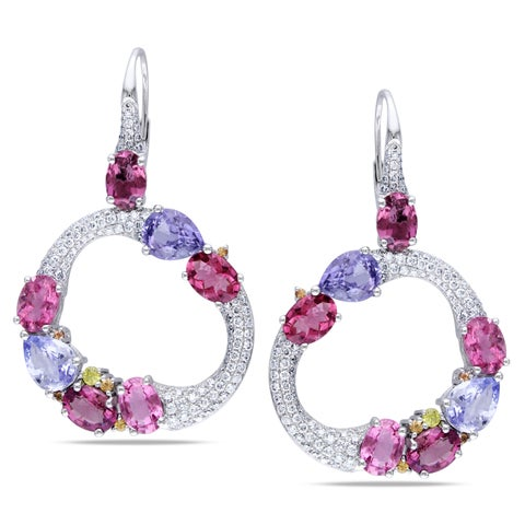 Miadora Signature Collection 14k Gold Multi-gemstone and 1 1/2ct TDW Diamond Earrings (G-H, SI1-SI2)