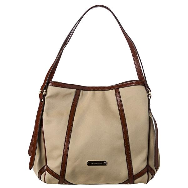 Burberry Small Khaki Cotton Gabardine and Leather Tote Bag