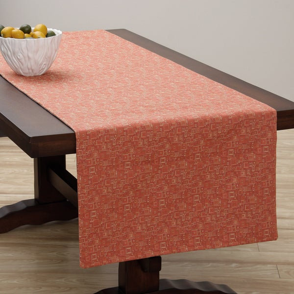 Corona Decor Extra Wide Italian Woven 95 x 26-inch Red Mosaic Table Runner