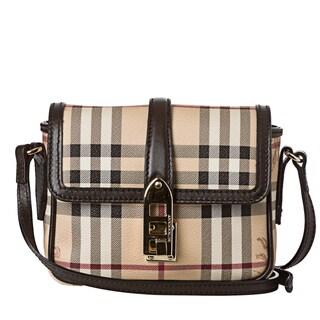 Burberry 'Berkeley' Mini Beige Haymarket Crossbody Bag