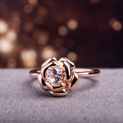 Miadora Rose-plated Silver Created White Sapphire Flower Ring