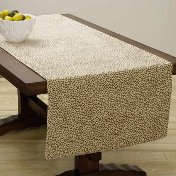 Corona Decor Extra Wide Italian Woven 95 x 26-inch Giraffe Spot Table Runner