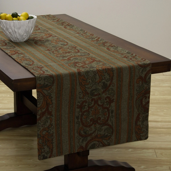 Attrayant Extra Wide Italian Woven Olive/ Red Table Runner 95 X 26 Inches