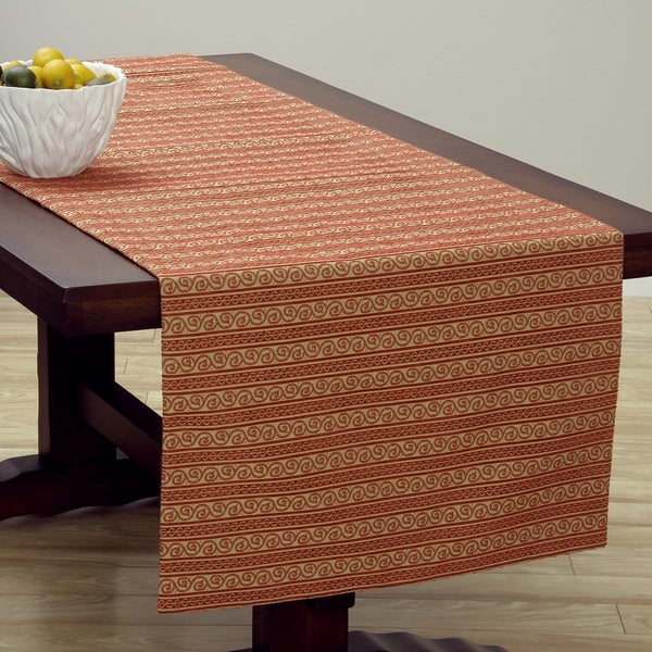 Corona Decor Extra Wide Italian Woven 95 x 26-inch Red/ Beige Table Runner