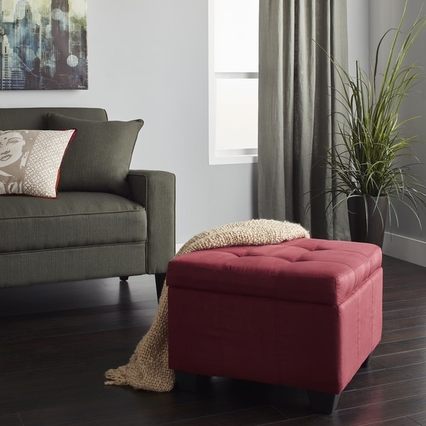 Epic Furnishings Vanderbilt Tufted Padded Hinged 24-inch Square Storage Ottoman Bench