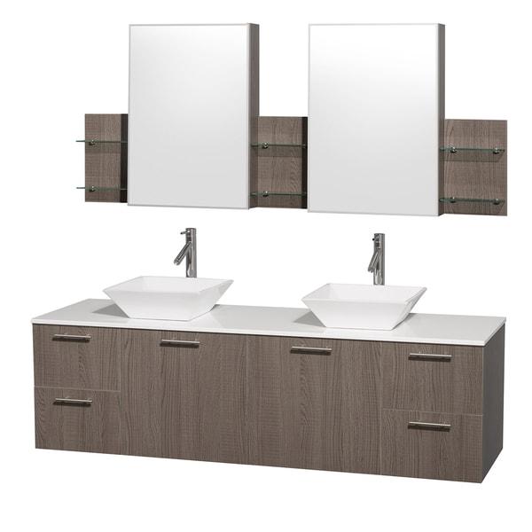 Wyndham Collection 'Amare' 72-inch Grey Oak/ White Top/ Carrera Marble Sink Vanity Set