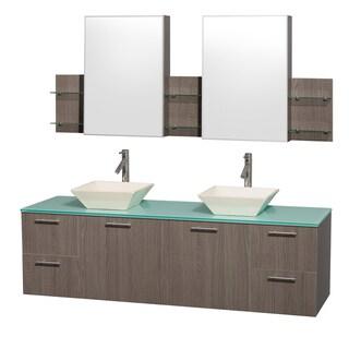 Wyndham Collection 'Amare' 72-inch Grey Oak/ Green Top/ Bone Sink Vanity Set