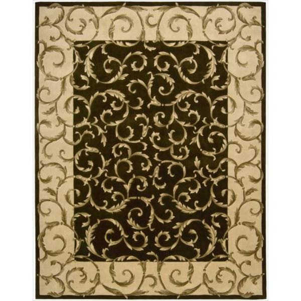 "Nourison Hand-Tufted Versailles Palace Floral Brown Rug (7' 6"" x 9' 6"")"