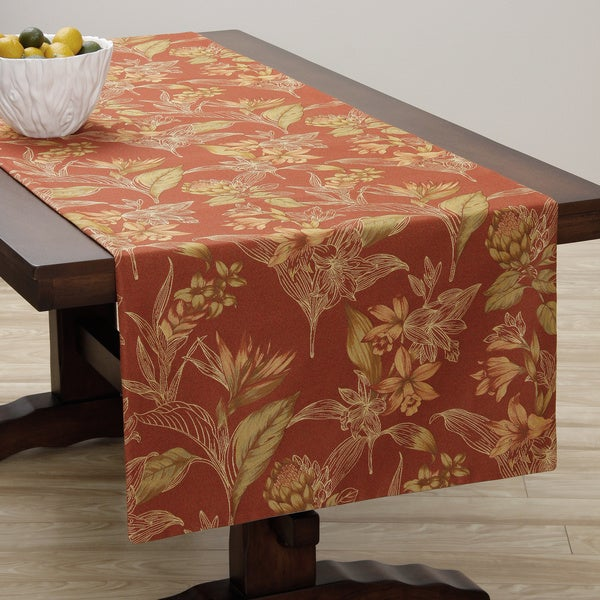 Corona Decor Extra Wide Italian Woven 95 x 26-inch Corona Floral Table Runner