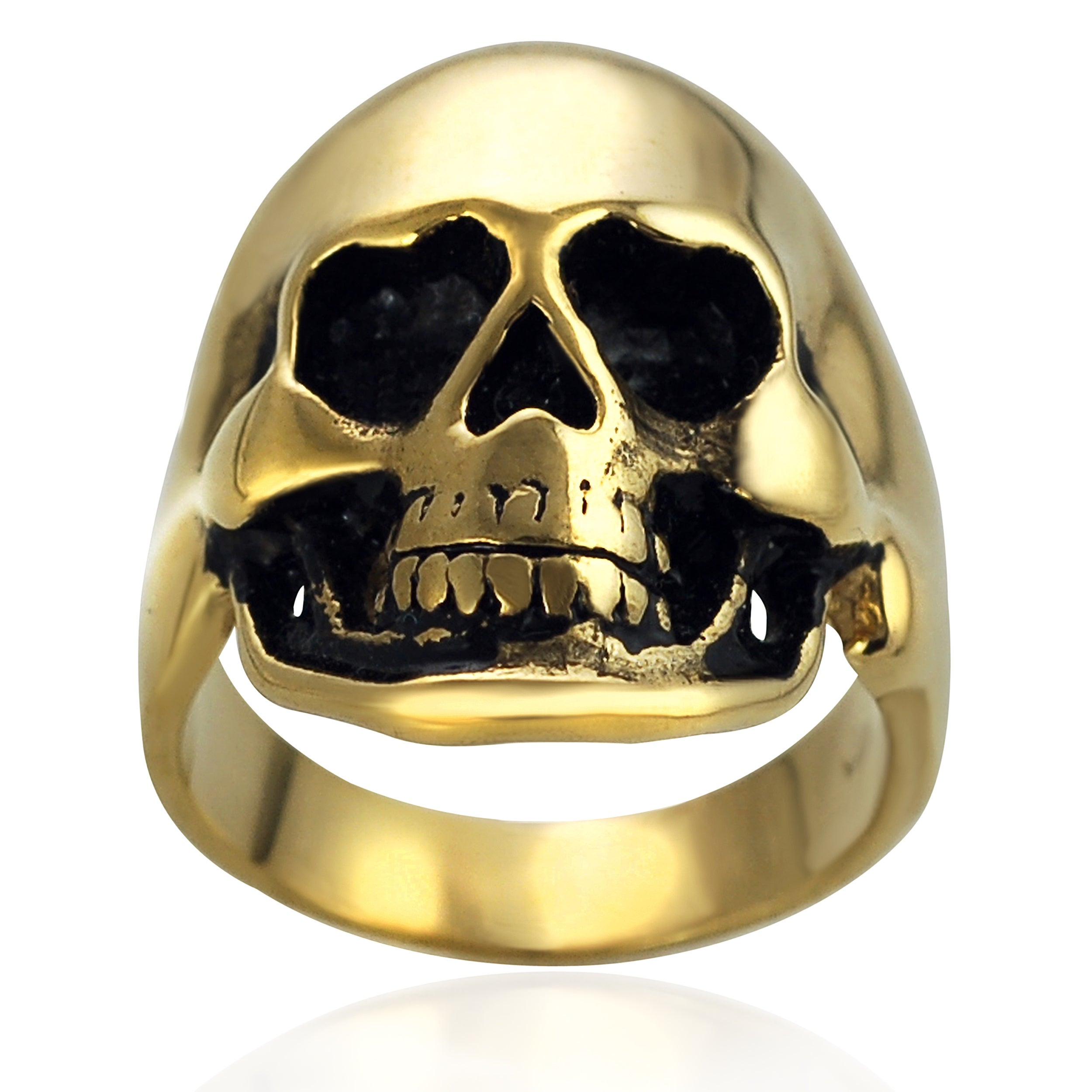 Vance Co. Goldplated Stainless Steel Skull Ring (Size- 12...