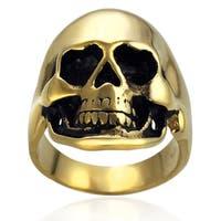 Vance Co. Goldplated Stainless Steel Skull Ring
