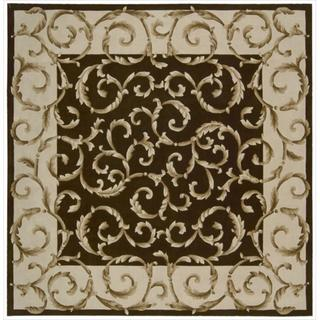 Nourison Traditional Hand-Tufted Versailles Palace Brown Rug (8' x 8' Square)